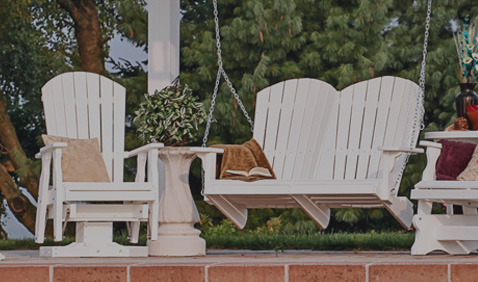 patio chair and bench in white