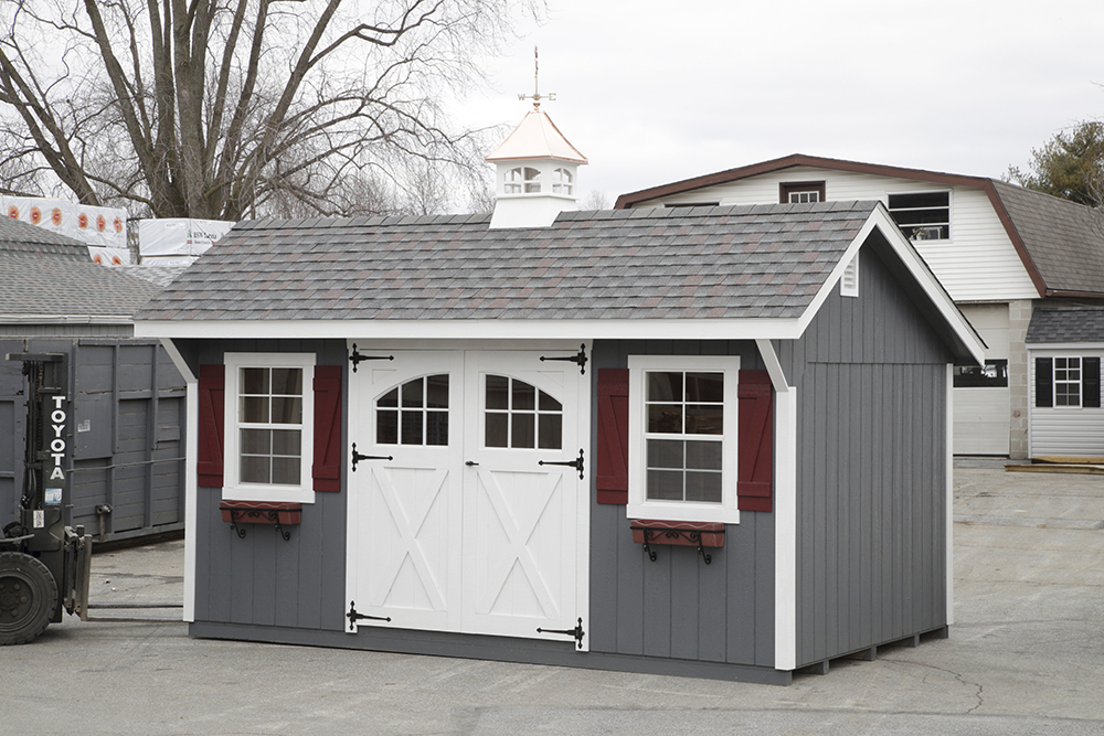 grey and white storage shed