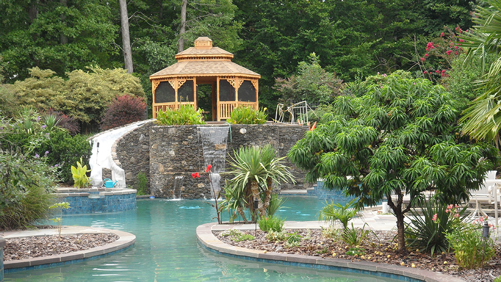wood gazebo on pool
