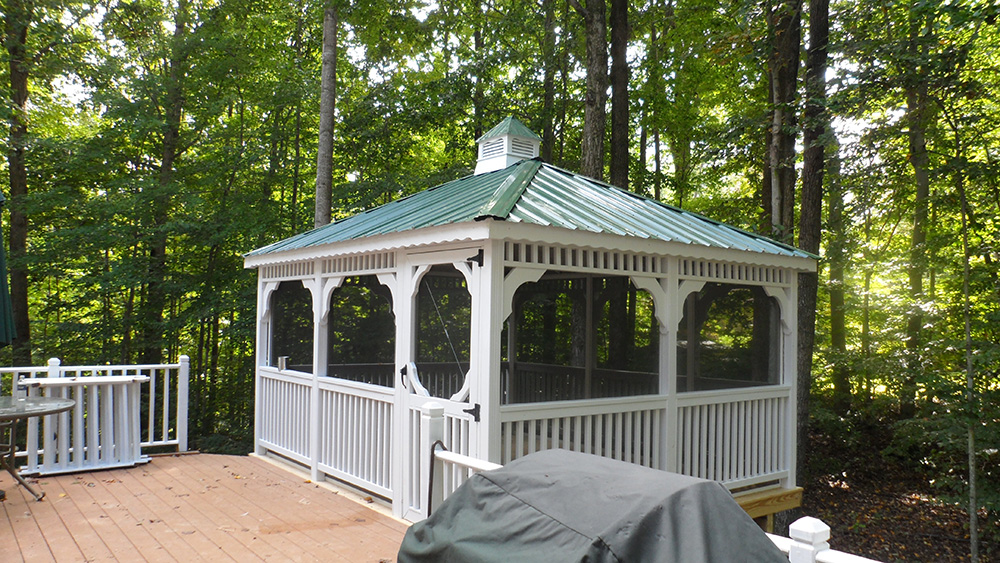 rectangle vinyl gazebo on deck