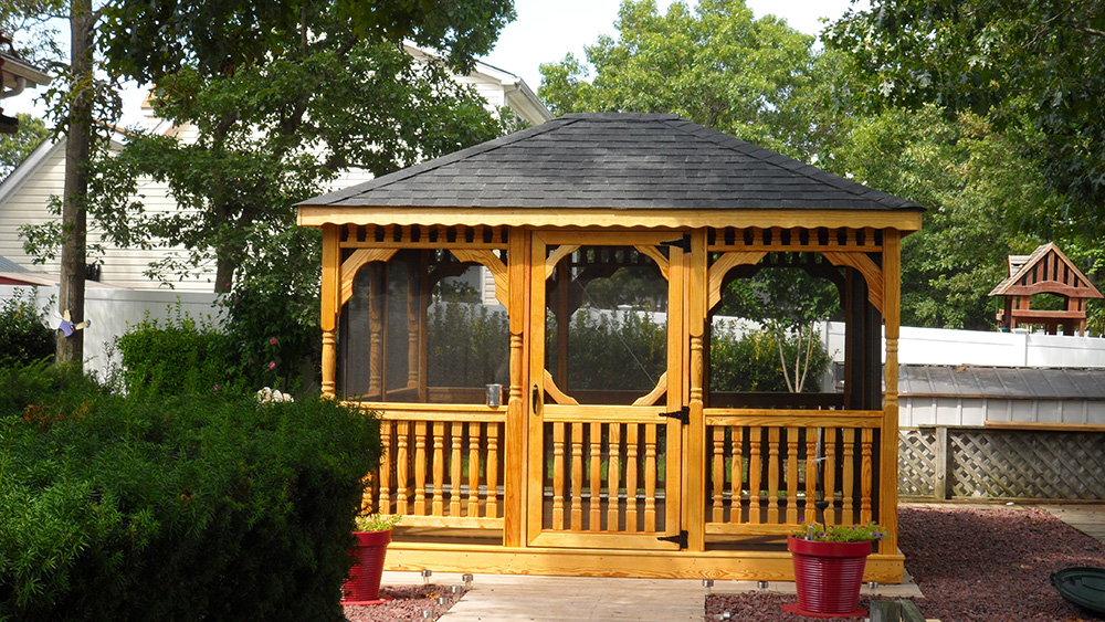 wood rectangle gazebo with screens