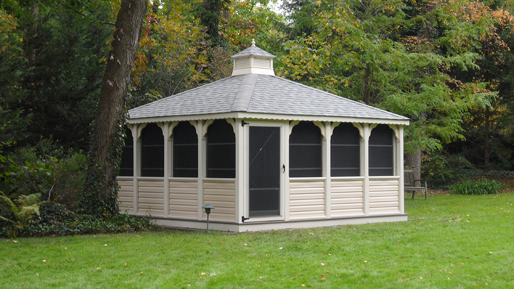 white oval gazebo