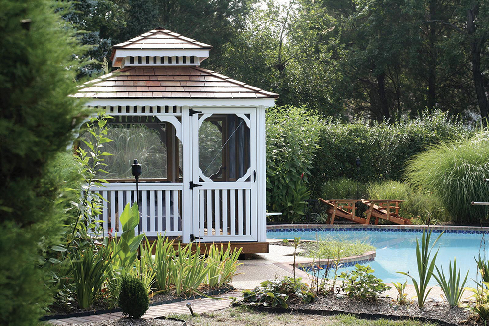 gazebo overlooking pool