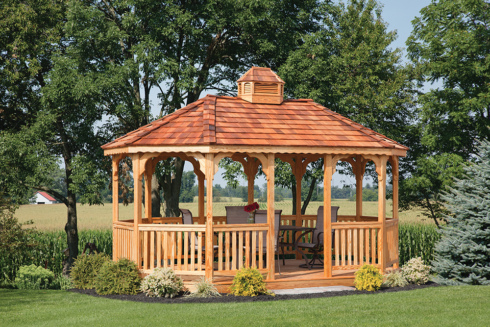 large oval wood gazebo