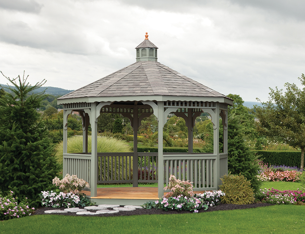 painted gazebo in backyard lawn
