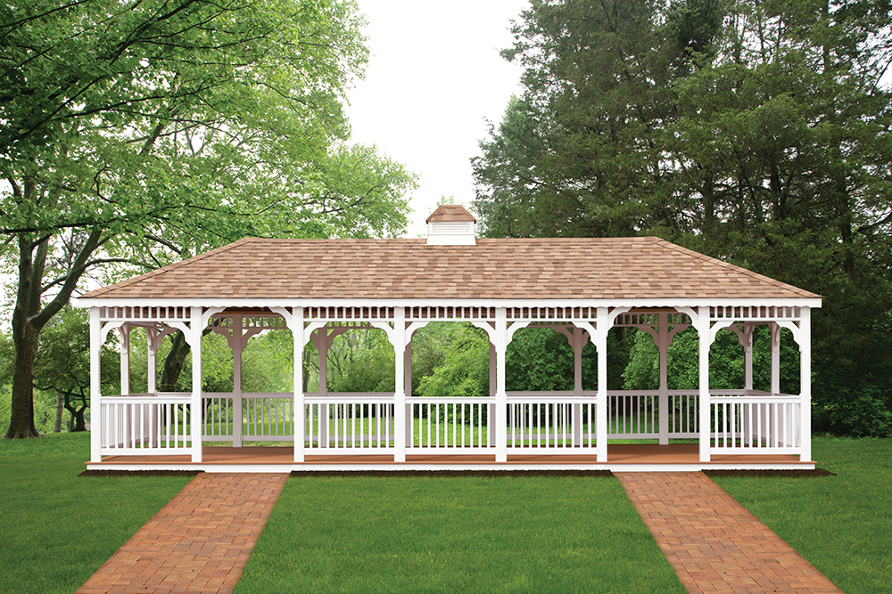large vinyl oval shaped gazebo