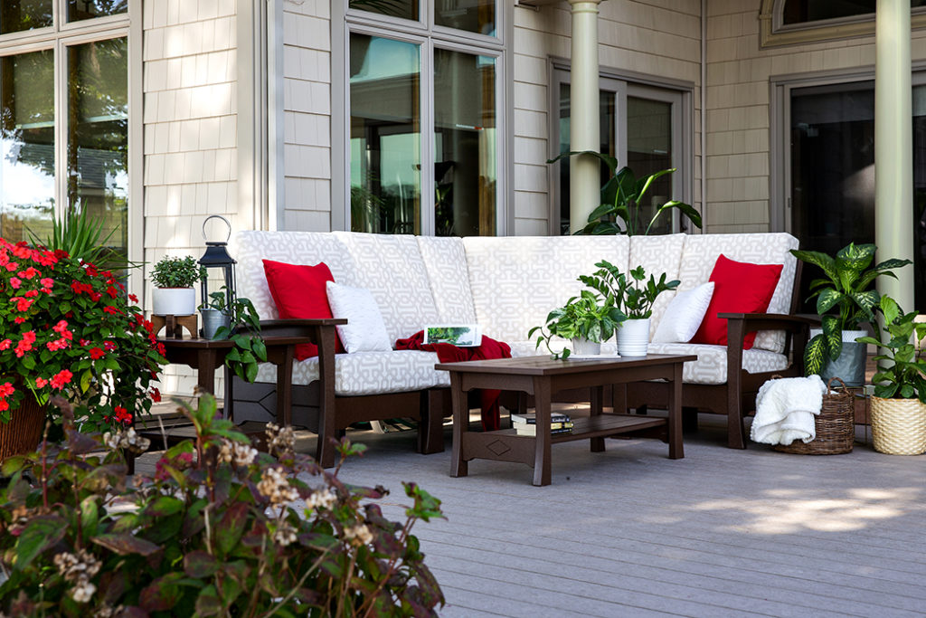 white upholstered outdoor furniture on patio