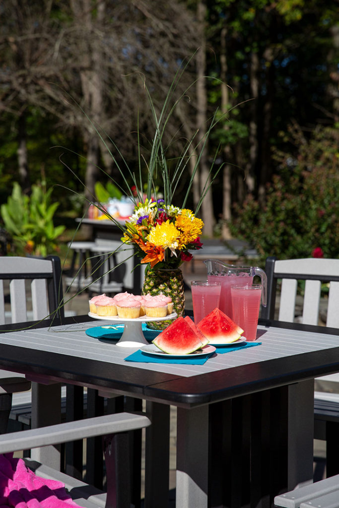 poly furniture with watermelon on table