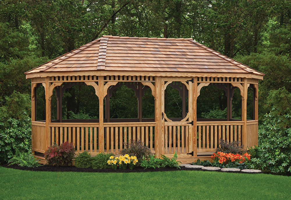 wooden oval shaped gazebo