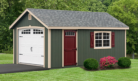 green and red with tan trim shed in grass against driveway