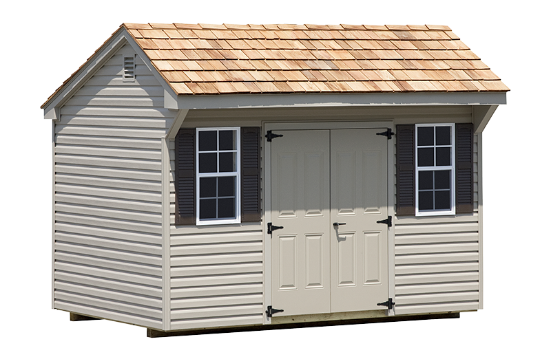 Quaker style storage shed with cedar shake roof